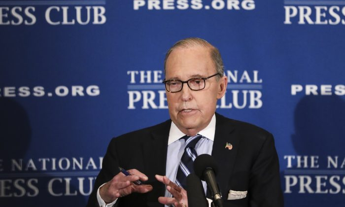 Director of the National Economic Council Larry Kudlow speaks at the National Press Club in Washington on April 23, 2019. (Samira Bouaou/The Epoch Times)