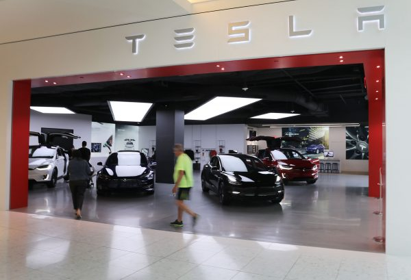 A Tesla showroom