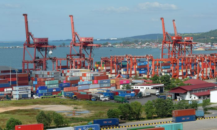 The Sihanoukville port in Cambodia, part of the Chinese regime's Belt and Road Initiative. Their project to connect Africa, Asia, and Europe through the construction of a network of railways and roads is met with criticism. (Tang Chhin Sothy/AFP/Getty Images)