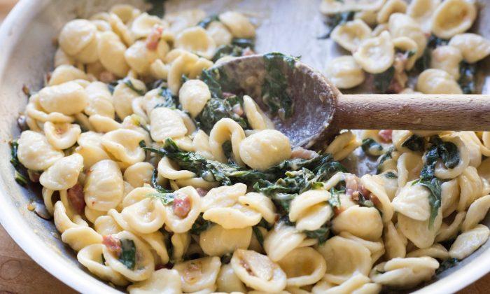 Creamy lemon pasta with pancetta and spring greens. (Caroline Chambers)