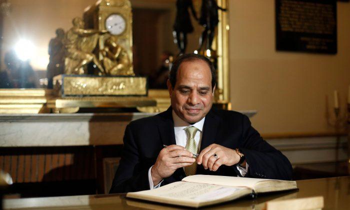 Egyptian President Abdel-Fattah al-Sisi in Paris on Oct. 23, 2017.  THIBAULT CAMUS/AFP/Getty Images