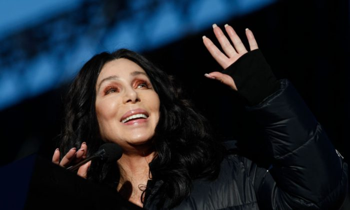 Singer/actress Cher speaks during the Women's March 'Power to the Polls' voter registration tour launch at Sam Boyd Stadium in Las Vegas, Nevada, on Jan. 21, 2018. (Sam Morris/Getty Images)