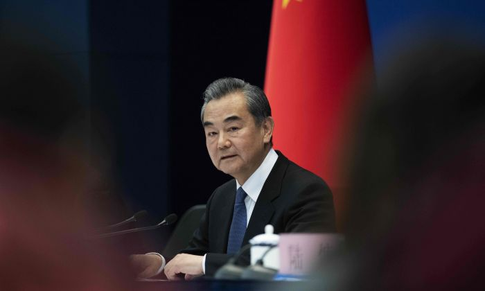 China's Foreign Minister Wang Yi speaks during a press conference briefing on the Belt and Road Summit at the Ministry of Foreign Affairs in Beijing on April 19, 2019. (Photo by Nicolas ASFOURI / AFP) (Photo credit should read NICOLAS ASFOURI/AFP/Getty Images)