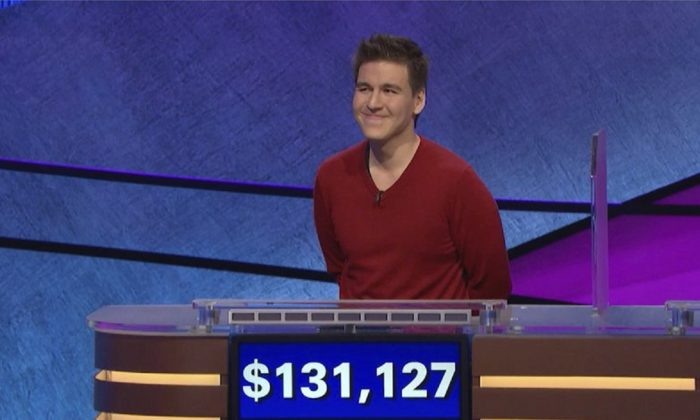 "Shows ""Jeopardy!"" contestant James Holzhauer on an episode that aired on April 17, 2019. (Jeopardy Productions, Inc. via AP)"
