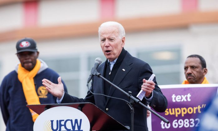 Former Vice President Joe Biden speaks in front of a Stop & Shop in support of union workers on April 18, 2019 in Dorchester, Massachusetts. (Scott Eisen/Getty Images)