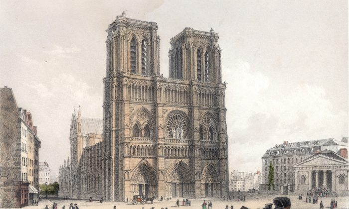 The cathedral of Notre Dame, situated on the Île de la Cité in Paris, drawn and engraved by Deroy, circa 1850. (Hulton Archive/Getty Images)