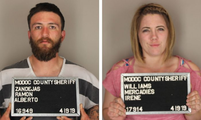 Ramon Zendejas, 25, and Mercadies Williams, 25, were arrested on April 19 and face a range of charges including illegal firearms possession and child endangerment. (Modoc County Sheriff's Office)