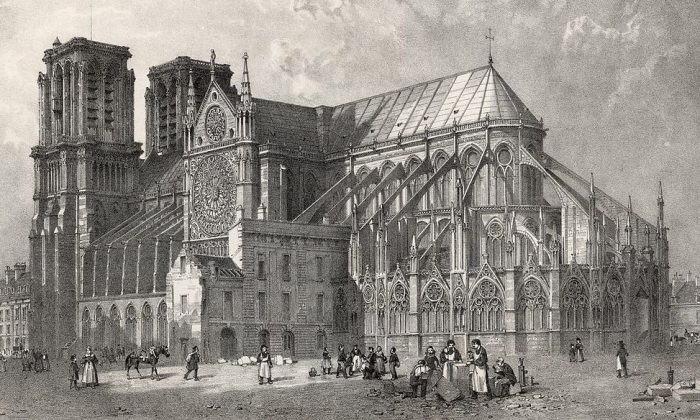 The great cathedral of Notre Dame on the Île de la Cité, Paris, in 1800. The spire was not added until the 19th century. ( Hulton Archive/Getty Images)