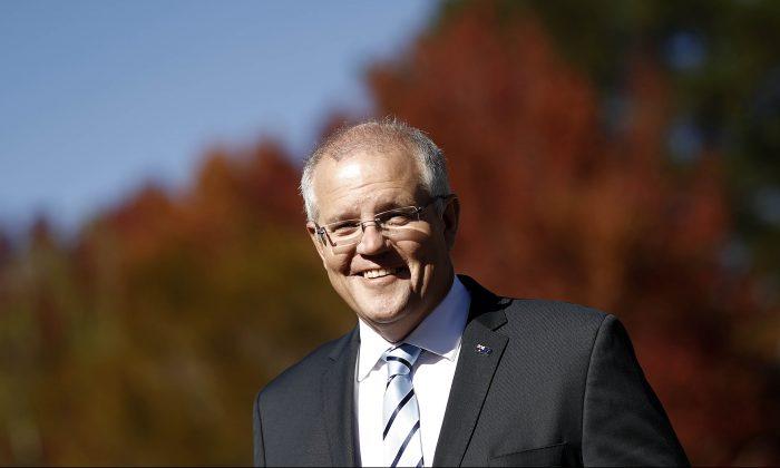 Scott Morrison, Prime Minister of Australia, arrives for a press conference at the Parramatta Creek rest area on April 18, 2019 in Sassafras, Australia. (Ryan Pierse/Getty Images)