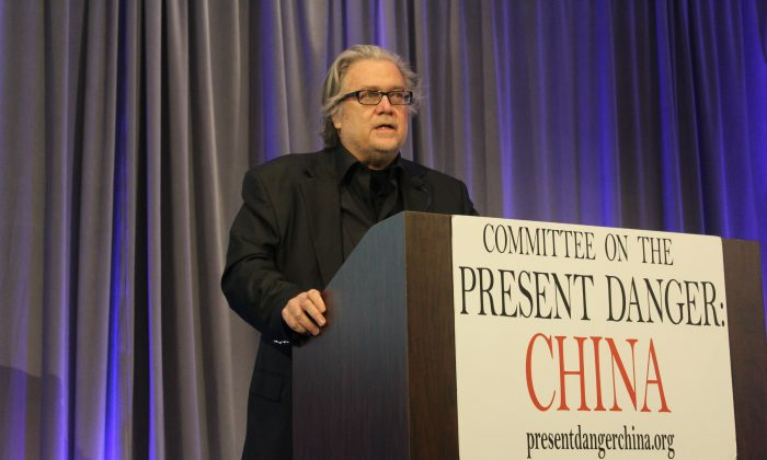 Steve Bannon, former White House strategist, at a conference hosted by the Committee of Present Danger: China about the Chinese Communist Party's unrestricted economic warfare against America in Manhattan, New York, on April 25, 2019. (Cathy He/The Epoch Times)