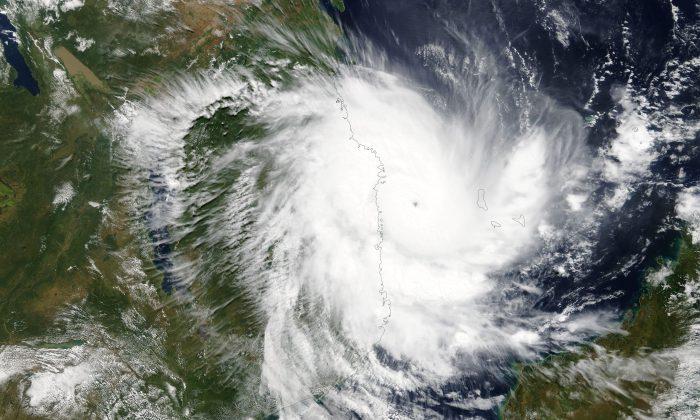 Tropical Cyclone Kenneth approaches the coast of Mozambique on April 25, 2019. NASA/Handout via REUTERS