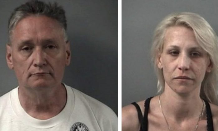 Police booking photos showing Andrew Freund Sr. and JoAnn Cunningham, who face multiple charges in the death of their 5-year-old son. (Crystal Lake Police Department)