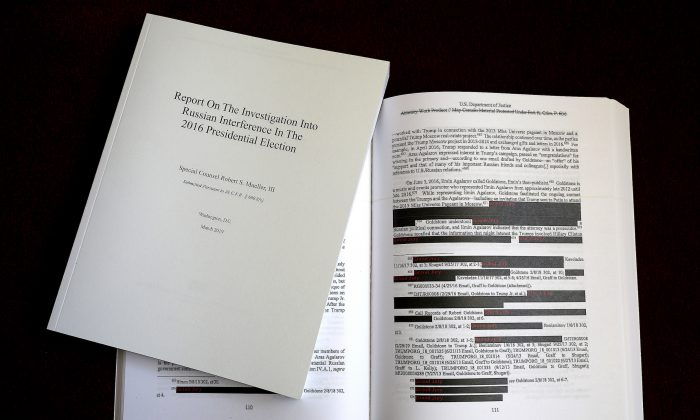 The recently released redacted version of the Mueller Report. (Win McNamee/Getty Images)