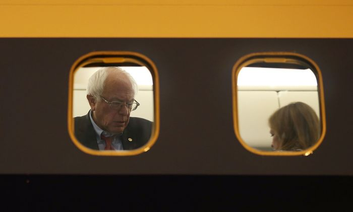 Democratic presidential candidate Sen. Bernie Sanders is seen through the  window of his plane on the tarmac at Signature Flight Support as he continues to campaign on February 18, 2016 in Las Vegas, Nevada.  Joe Raedle/Getty Images