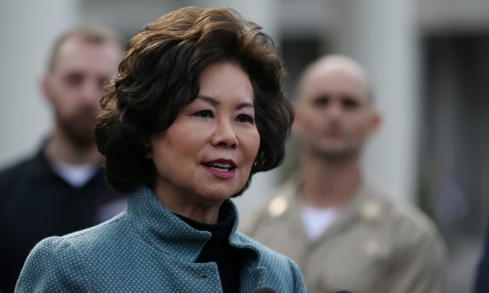 U.S. Department of Transportation Secretary Elaine Chao speaks to the news media outside of the West Wing of the White House in Washington, U.S., March 4, 2019. (Leah Millis/Reuters)