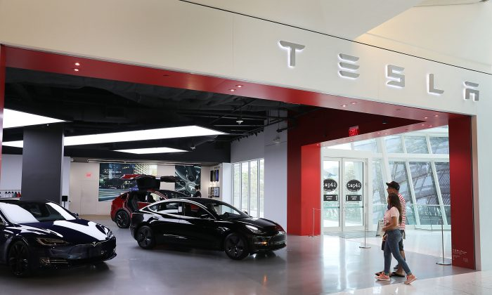 A Tesla showroom is seen in Miami, Fla. on April 04, 2019.  (Joe Raedle/Getty Images)