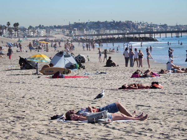 People sun bathe and play at Venice Beach