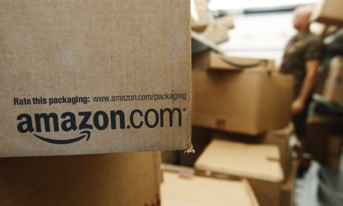 An Amazon.com package awaits delivery from UPS in Palo Alto, Calif. Amazon in a file photo. (Paul Sakuma/AP Photo)