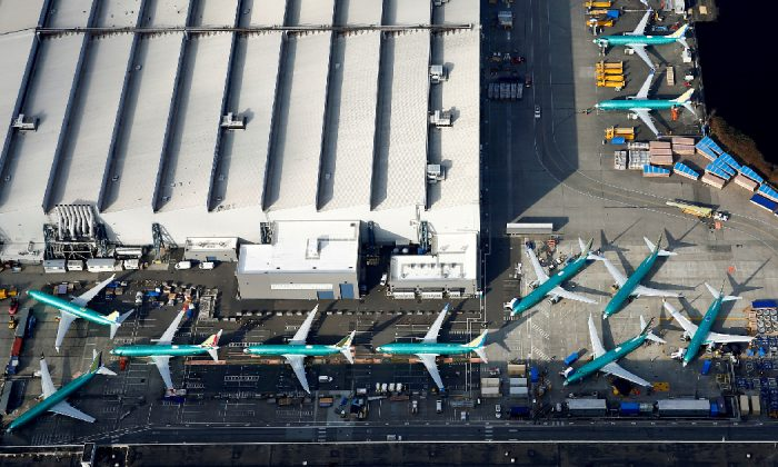 An aerial photo shows Boeing 737 MAX airplanes parked on the tarmac at the Boeing Factory in Renton, Wash., on March 21, 2019. (Lindsey Wasson/Reuters)