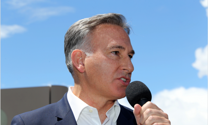 King County Executive Dow Constantine speaks at a press conference on June 9, 2018 in SeaTac, Washington.