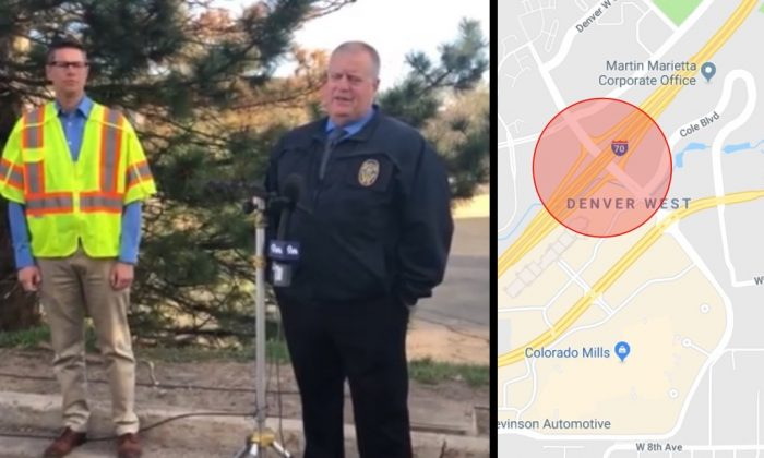 Lakewood Police Department spokesman Ty Countryman briefs reporters about the deadly crash on the I-70 that took place under the Denver West Parkway bridge on April 25, 2019. (Lakewood Police Department / Google Maps)