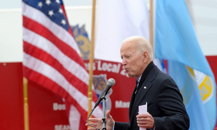 Former Vice President Joe Biden speaks at a rally organized by UFCW Union members at the Stop and Shop in Dorchester, Massachusetts on April 18, 2019. (Joseph Prezioso/AFP/Getty Images)