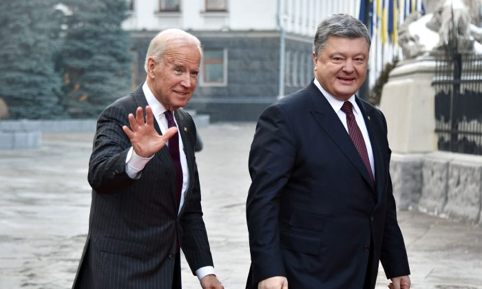 Then-Vice President Joe Biden arrives for a meeting with Ukrainian President Petro Poroshenko Kyiv on Jan. 16, 2017. (Genya Savilov/AFP/Getty Images)