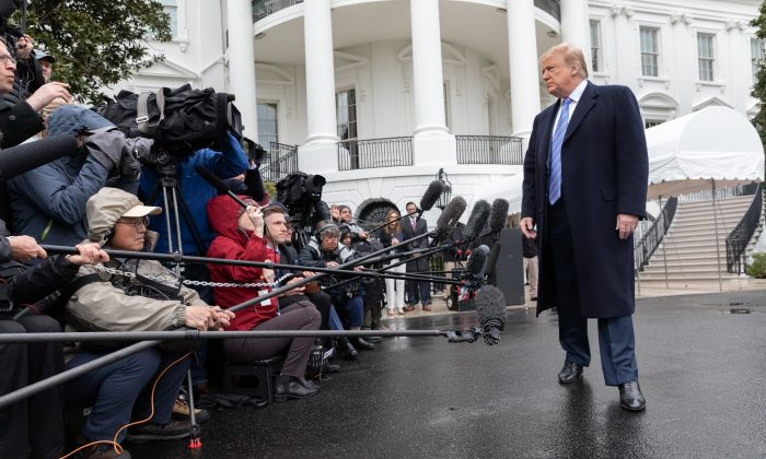 President Donald J. Trump speaks with reporters outside the South Portico entrance of the White House on April 5, 2019. (Joyce N. Boghosian)