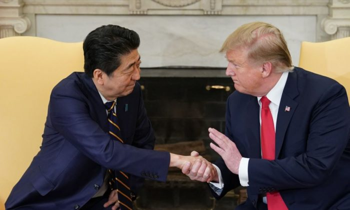 US President Donald Trump takes part in a bilateral meeting with Japan's Prime Minister Shinzo Abe in the Oval Office of the White House in Washington, on April 26, 2019. (MANDEL NGAN/AFP/Getty Images)