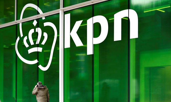 KPN logo is seen at its headquarters in Rotterdam, Netherlands on Jan. 30, 2019. (Piroschka van de Wouw/Reuters)