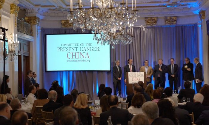 "The Committee on the Present Danger: China hosted a conference called ""The CCP's Unrestricted Economic Warfare Against America Conference"" and condemned China's human rights abuses in New York City on April 25, 2019. (Shenghua Sung/NTD)"