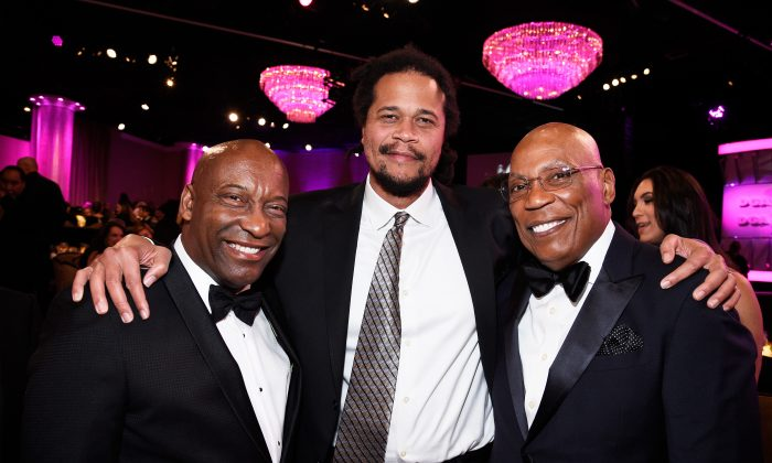 (L-R) Directors John Singleton, Seith Mann and Paris Barclay pose during the 70th Annual Directors Guild Of America Awards at The Beverly Hilton Hotel in Beverly Hills, Calif., on Feb. 3, 2018. (Kevork Djansezian/Getty Images for DGA)
