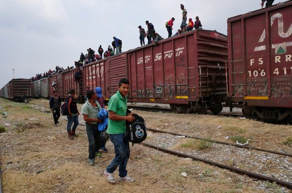 Central American migrants, moving in a caravan through Juchitan