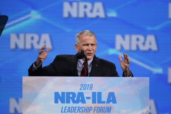 National Rifle Association President Col. Oliver North speaks at the National Rifle Association Institute