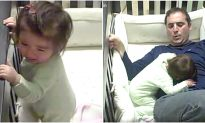 Video: Father Climbs Into Crib to Calm Crying Baby, but Watch What Happened in the End