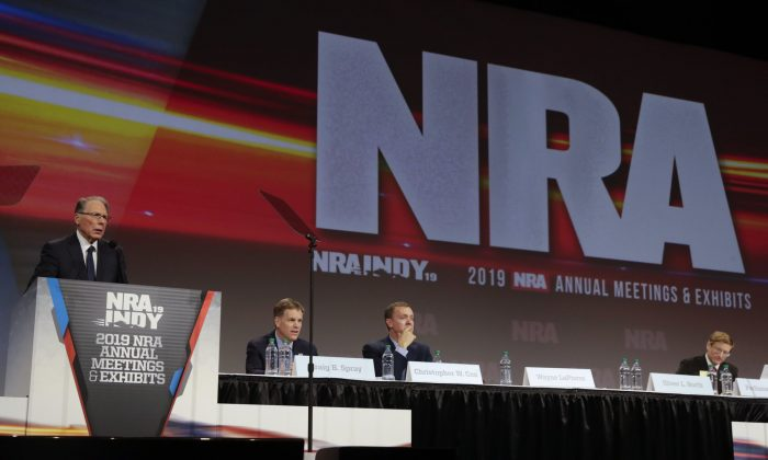 National Rifle Association Executive Vice President Wayne LaPierre speaks at the NRA Annual Meeting of Members in Indianapolis, on April 27, 2019. (Michael Conroy/AP Photo)
