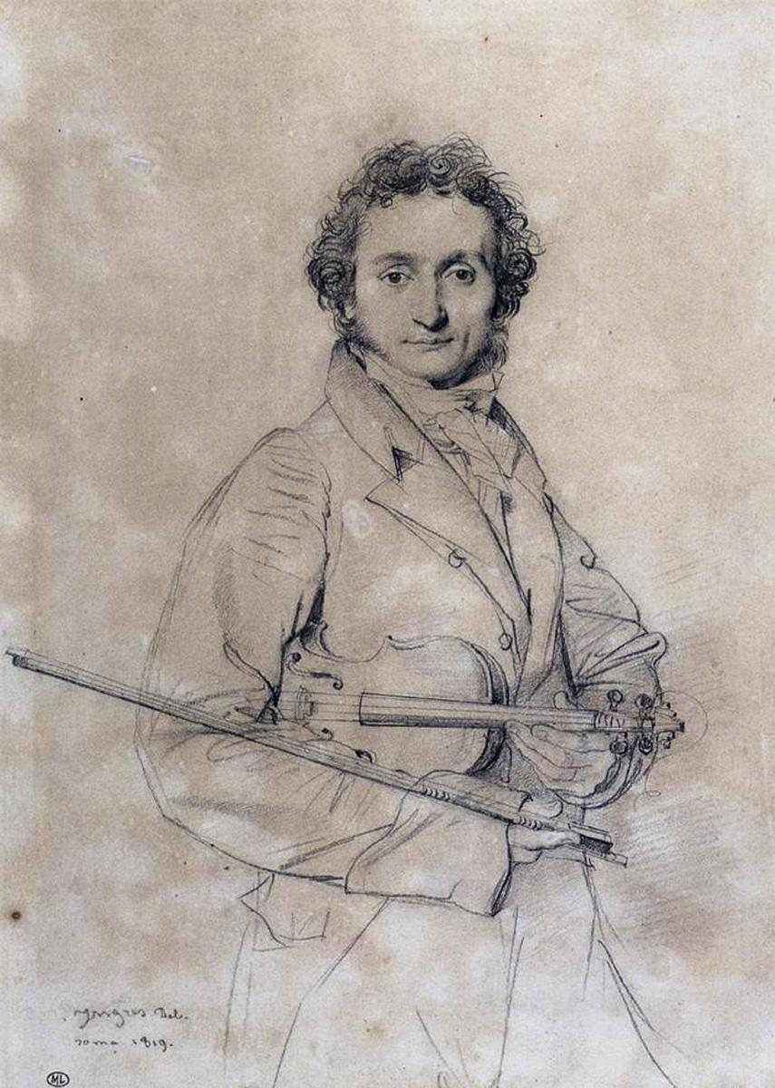 Niccolo Paganini portrait by ean-Auguste-Dominique Ingres