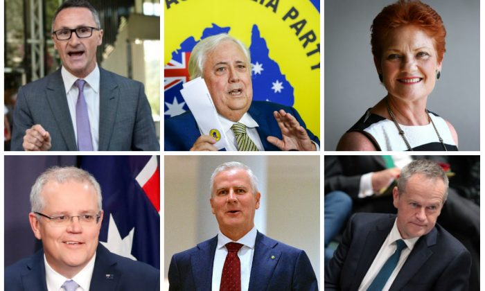 Top left to right: Leader of the Australian Greens Richard Di Natale, leader of the United Australia Party Clive Palmer, leader of One Nation Pauline Hanson, and bottom left to right: Prime Minister and leader of the Liberal Party Scott Morrison, leader of the National Party of Australia Michael McCormack, leader of the Australian Labor Party Bill Shorten. (Getty Images/AAP/Reuters)