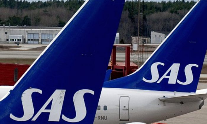Scandinavian Airline Systems (SAS) airplanes at Arlanda airport, outside Stockholm, Sweden. (Pontus Lundahl/AFP/Getty Images)