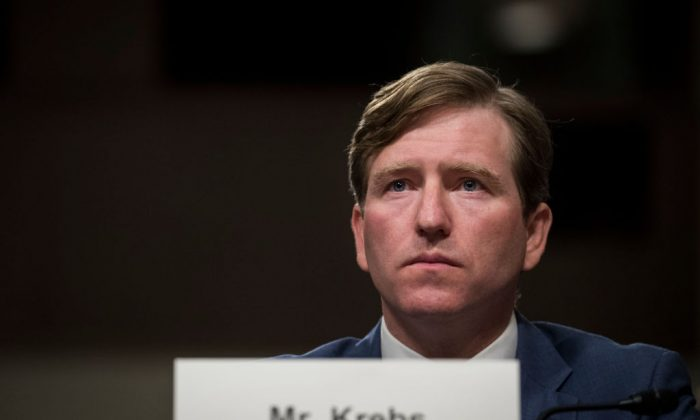 Christopher Krebs, currently director of Cybersecurity and Infrastructure Security Agency at the U.S. Department of Homeland Security, testifies during a Senate Armed Services Committee hearing in Washington, on Oct. 19, 2017. (Drew Angerer/Getty Images)