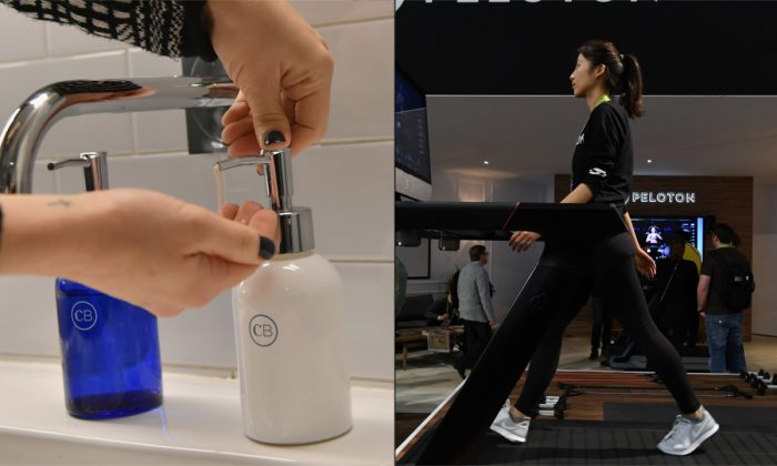 (L) A woman using hand soap. (Mike Coppola/Getty Images)/(R) A woman on a treadmill. (Ethan Miller/Getty Images)