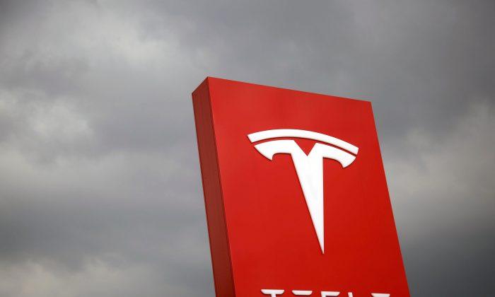 The Tesla logo in Taipei, Taiwan, on Aug. 11, 2017. REUTERS/Tyrone Siu/File Photo