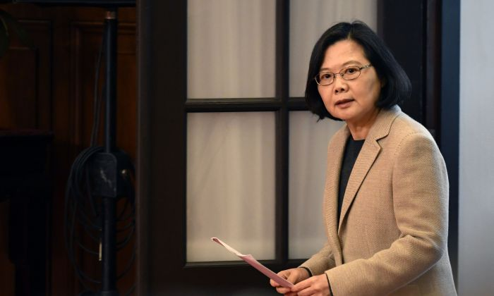 Taiwan President Tsai Ing-wen arrives for a press conference at the Presidential Palace in Taipei on January 1, 2019. (SAM YEH/AFP/Getty Images)
