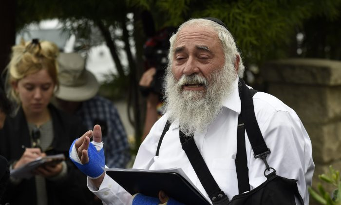 Rabbi Yisroel Goldstein speaks at a news conference at the Chabad of Poway synagogue in Poway, Calif., on April 28, 2019.  (Denis Poroy/AP Photo)