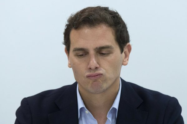 Albert Rivera, head of the center-right Ciudadanos party pauses during a party meeting