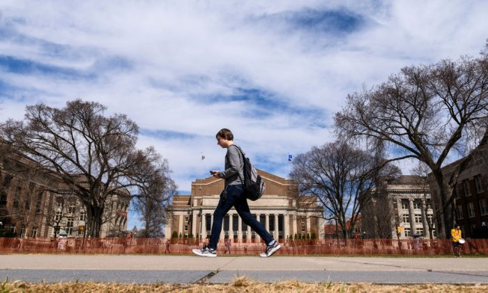 A student at the University of Minnesota campus on April 9, 2019. (Stephen Maturen/Getty Images)