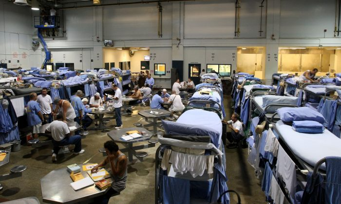 Inmates at the Mule Creek State Prison in Ione, Calif., on Aug. 28, 2007. (Justin Sullivan/Getty Images)