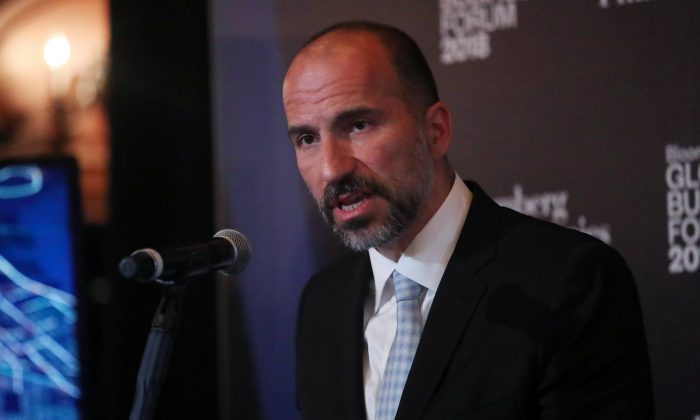 Dara Khosrowshahi, CEO of Uber, at the Bloomberg Global Business forum in New York on Sept. 26, 2018. REUTERS/Shannon Stapleton