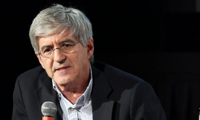 Panel moderator, Yahoo News Chief Investigative Correspondent Michael Isikoff speaks during a panel discussion in New York City on Nov. 12, 2018.  (Monica Schipper/Getty Images)