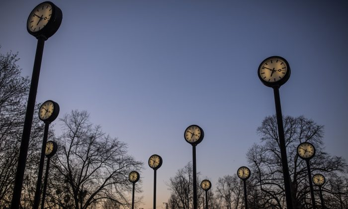 """The """"Zeitfeld"""" (Time Field) clock installation by Klaus Rinke is seen at the entrance of the Suedpark, on March 29, in Dusseldorf Germany.  Maja Hitij/Getty Images"""